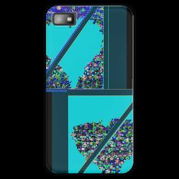 """Чехол для Blackberry Z10 """"Инверсия сердца"""" - сердце, сердца, голубой, синий, линия"""