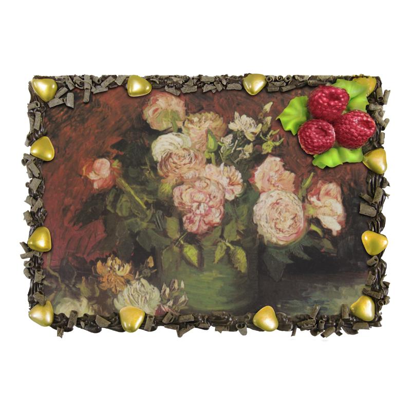 Торт Printio Чаша с пионами и розами (винсент ван гог) alpen gold шоколад белый с миндалем и кокосовой стружкой 90 г