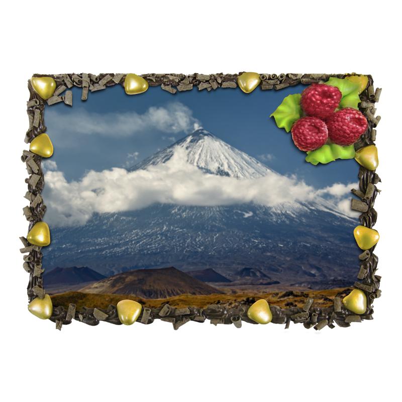 Торт Printio Камчатка, осенний пейзаж, извержение вулкана