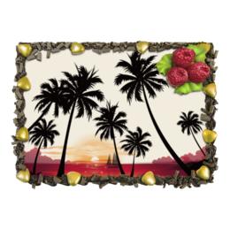 """Торт """"Острова в океане"""" - море, закат, яхта, острова, пальмы"""