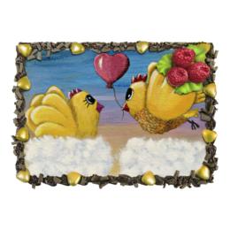 """Торт """"С днём рождения, любимая!"""" - день всех влюблённых, парочка прикольных цыплят, день рождения, подарок любимой, годовщина свадьбы"""