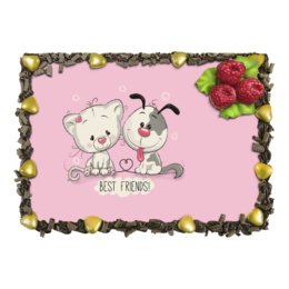 """Торт """"Друзья"""" - мультяшки, друзья, рисунок, щенок, котёнок"""