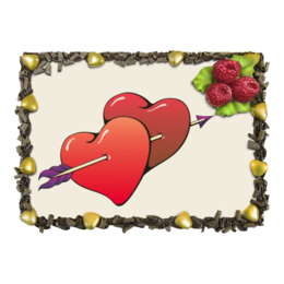 """Торт """"Сердца пронзенные стрелой"""" - любовь, сердца, пара, стрела"""