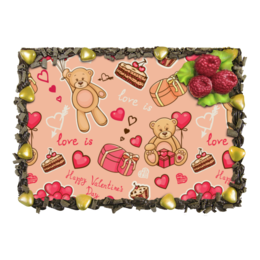"""Торт """"Happy Valentine's day"""" - любовь, мишки тедди, подарок, сердечки, heart"""