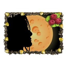 "Торт ""Look at the moon"" - moon, girl, девушка, луна, ночь"