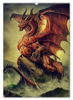 """Перекидной Календарь А2 """"ДРАКОНЫ ФЭНТЕЗИ"""" - стиль, красота, яркость, драконы, волшебный мир"""