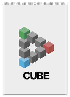 "Перекидной Календарь А2 ""Symbol CUBE"" - logo, star, cube, play, gebo"