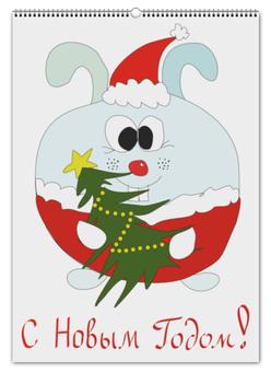 """Перекидной Календарь А2 """"Новогодний заяц"""" - новый год, кролик, новый год 2018"""