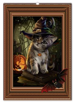 """Перекидной Календарь А2 """"КОШКИ ФЭНТЕЗИ"""" - стиль, красота, кошки, яркость, волшебство"""