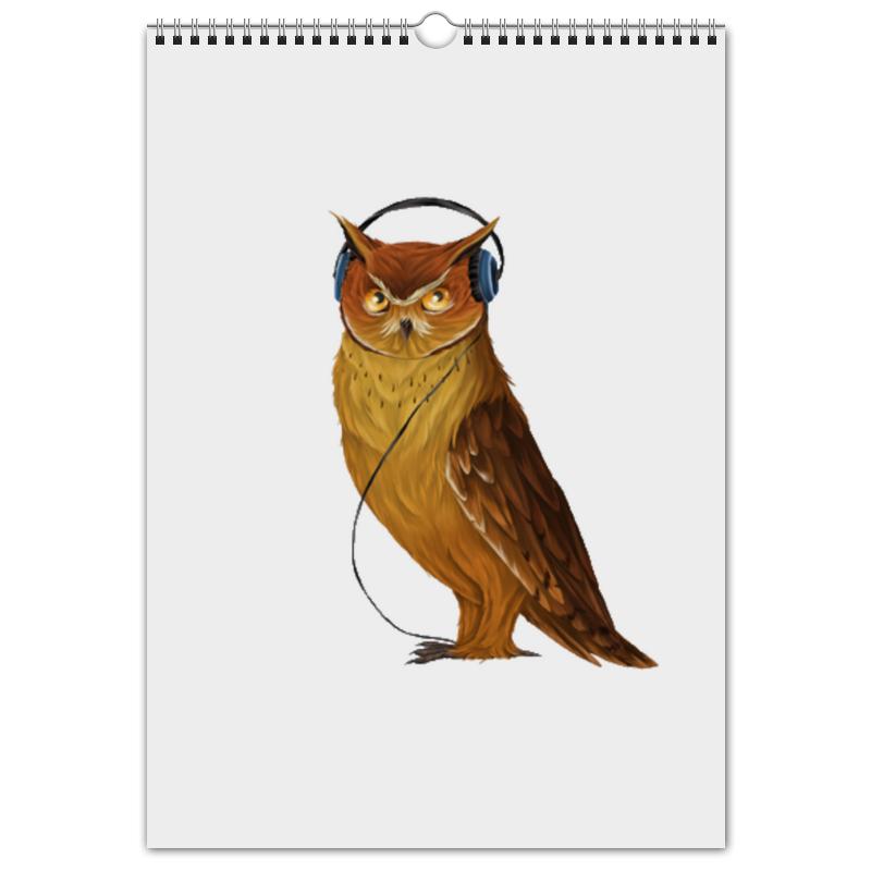 Перекидной Календарь А3 Printio Сова в наушниках салль о м в ожидании нового года адвент календарь а3
