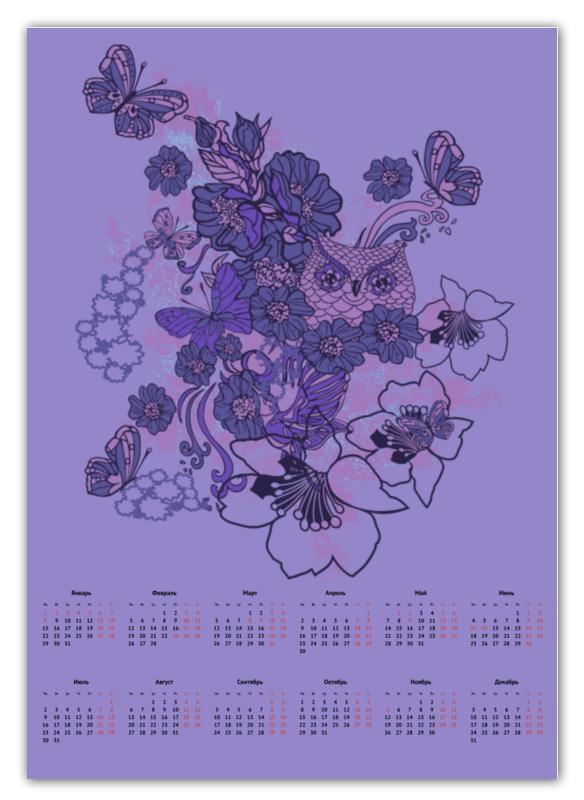 Календарь А2 Printio Сова в цветах