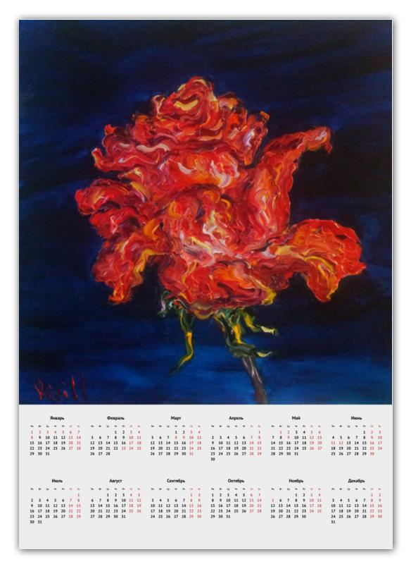 Календарь А2 Printio Алая роза пламенная роза тюдоров