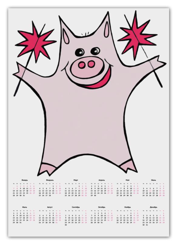 Календарь А2 Printio Розовый поросёнок с бенгальскими огнями тетрадь на скрепке printio розовый поросёнок с бенгальскими огнями