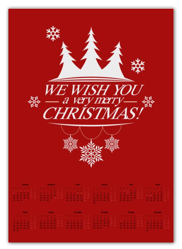 Календарь А2 Printio Merry x-mas футболка классическая printio merry x mas