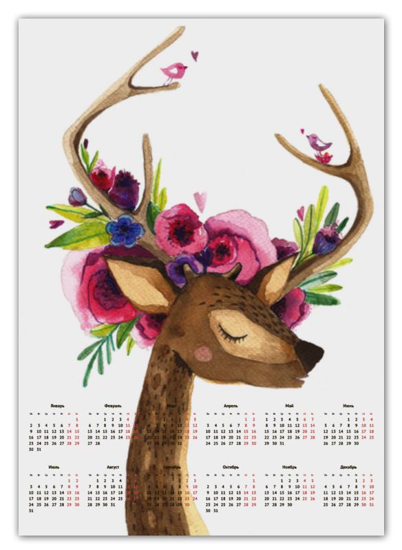 Календарь А2 Printio Олень с цветами в рогах календарь а2 printio олень