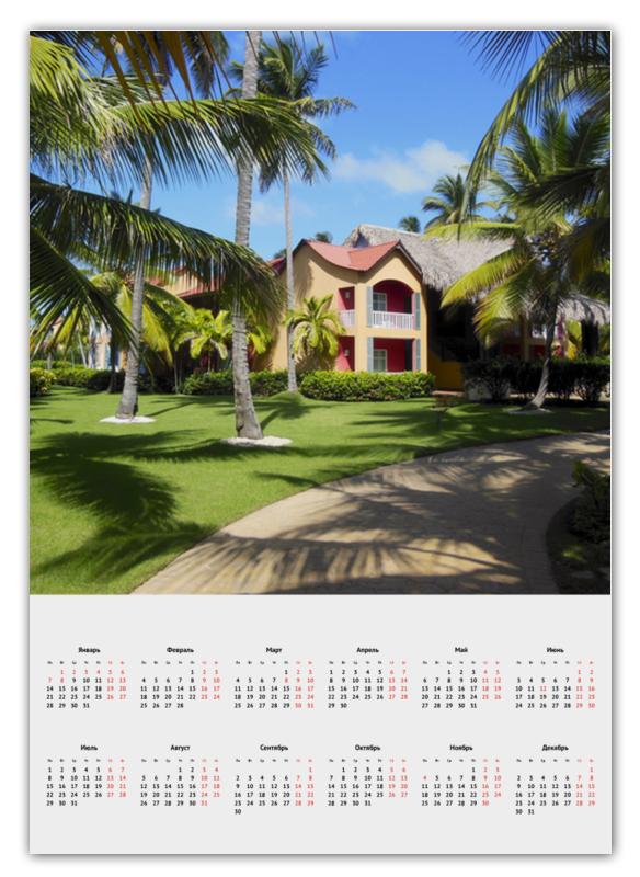Календарь А2 Printio доминикана. тропический сад екояма ю сад
