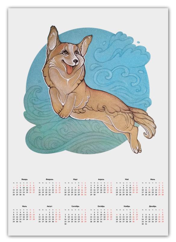 Календарь А2 Printio Корги в облаках цена и фото