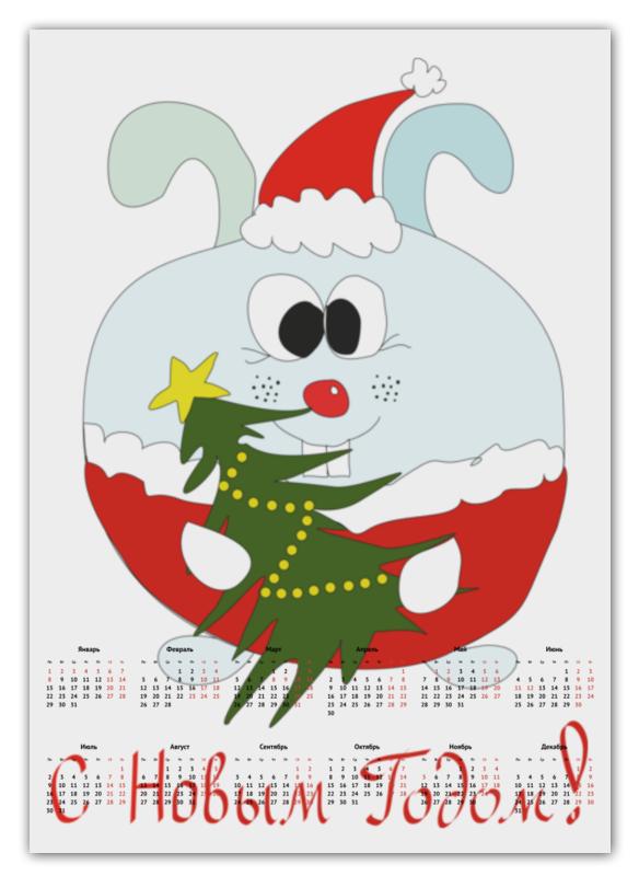 Календарь А2 Printio Новогодний заяц цена