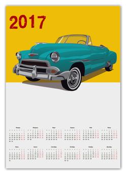 "Календарь А2 ""Ретро авто"" - рисунок, винтаж, ретро авто, старый автомобиль"