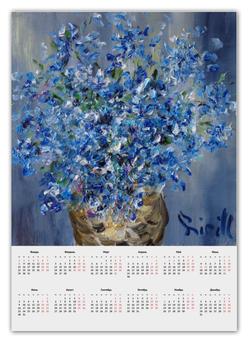 """Календарь А2 """"Синие цветы"""" - красиво, модно, актуально"""