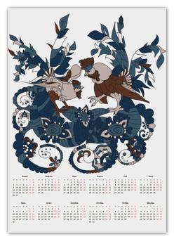 """Календарь А2 """"петушиное разноцветие"""" - узор, символ года, абстрактный, петух, петухи"""