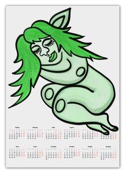 """Календарь А2 """"Дремлющая троллита"""" - девушка, тролль, графика, сладкий сон, мифические существа"""