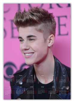 "Календарь А2 ""Justin Bieber"" - music, justin bieber, день рождения, new year, singer"