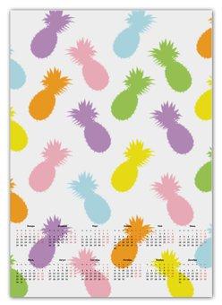 "Календарь А2 ""Ананасы!"" - паттерн, радуга, фрукты, узор, ананас"