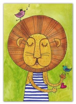 """Календарь А2 """"Олень с цветами в рогах"""" - лев, акварель, грива, бонифаций, тельняжка"""