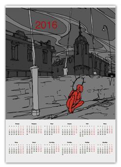 "Календарь А2 ""Календарь на 2016 г."" - ангел, город, демон, 2016"