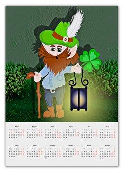 """Календарь А2 """"Лепрекон с фонарем и волшебный клевер"""" - клевер, фонарь, день святого патрика, карлик, четырехлистник"""