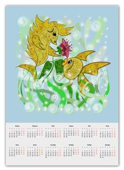 """Календарь А2 """"Влюбленные рыбки"""" - любовь, цветок, подарок, золотая рыбка, рыбка-конек"""