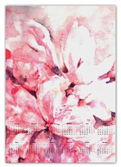 """Календарь А2 """"Лепестки цветов"""" - цветок, розовый, оригинальный, акварель, нежный"""