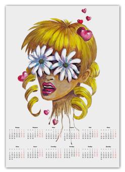 """Календарь А2 """"Без ума от цветов"""" - любовь, девушка, цветы, сердца, блондинка"""