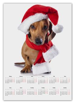 """Календарь А2 """"такса новый год"""" - новый год, подарок, такса"""