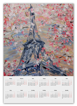 """Календарь А2 """"Эйфелева башня"""" - весна, цветение, париж, эйфелева башня"""