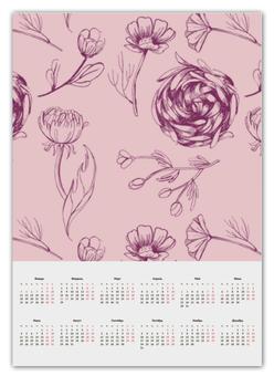 """Календарь А2 """"Осенний сад """" - цветы, pink, паттерн, осенний сад"""