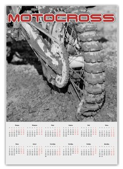 """Календарь А2 """"Motocross"""" - мотоцикл, песок, колесо, motocross, эндуро"""