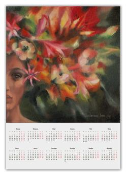 """Календарь А2 """"Богиня Флора"""" - богиня цветов, флора, подарок"""