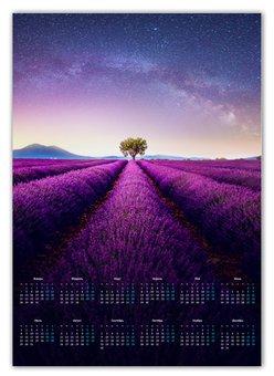 "Календарь А2 ""Без названия"" - космос, небо, природа, звёзды, лаванда"