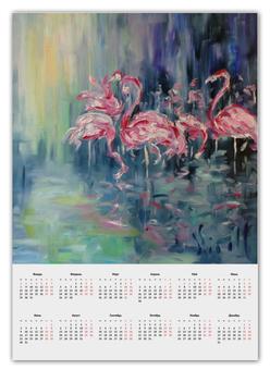 "Календарь А2 ""Розовый фламинго"" - pink, розовый, фламинго"