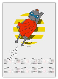 """Календарь А2 """"СупермЭн"""" - супермен, комикс, собака, иллюстрация"""