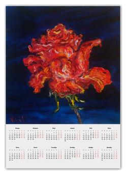 """Календарь А2 """"Алая роза"""" - гроза, алый, красная роза"""