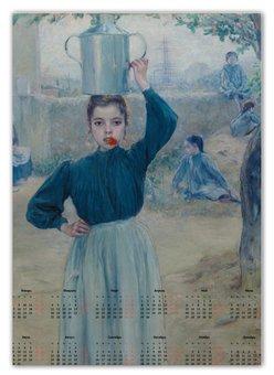 """Календарь А2 """"Деревенская девочка с красной гвоздикой"""" - картина, импрессионизм, живопись, гиард"""