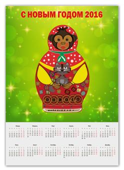 "Календарь А2 ""Обезьянка матрешка кот 2016"" - new year, обезьянка матрешка кот 2016"