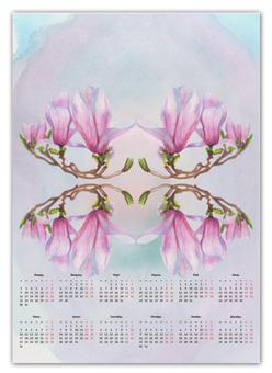 """Календарь А2 """"Магнолия"""" - цветы, весна, розовый, магнолия"""