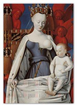 """Календарь А2 """"Дева Мария (Маленский диптих)"""" - картина, живопись, христианство, фуке"""