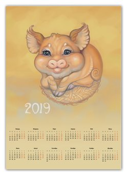 """Календарь А2 """"Жёлтая свинья, символ 2019 года"""" - няшка, желтая свинья, символ года 2019, стихия земли, стилизованные животные"""
