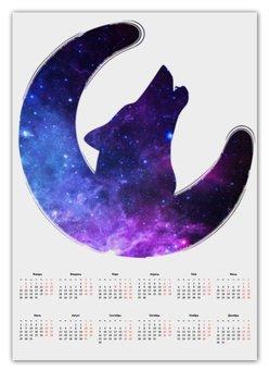 "Календарь А2 ""Space animals"" - space, звезды, космос, луна, вселенная"