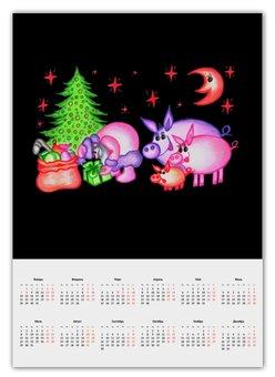 """Календарь А2 """"Внезапная встреча"""" - сюрприз, подарки, дед мороз, внезапная встреча"""